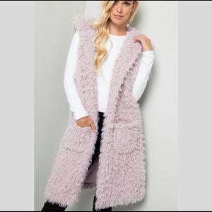 Lavender Faux Fur Hooded Vest
